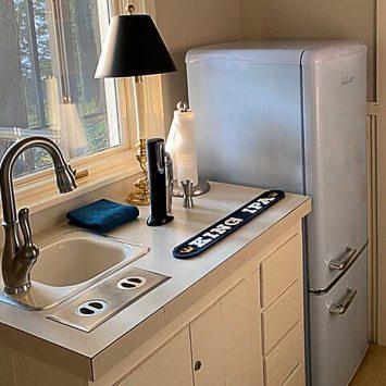 white fridge in the kitchen