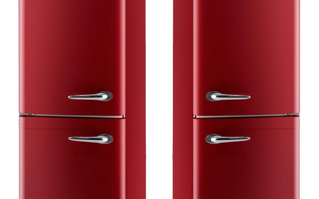 red retro refrigerator