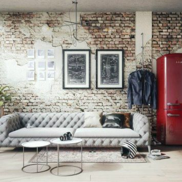 wine red refrigerator in the living room