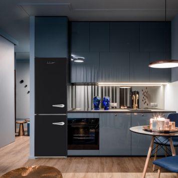 iio RM1 ALBR1372-11 Retro Lifestyle Photo of Kitchen with Black Retro Fridge