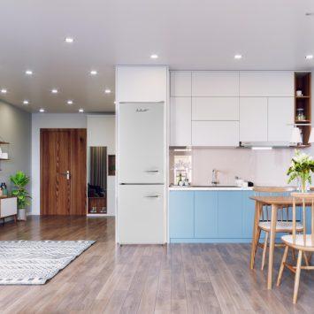 iio RM1 ALBR1372-11 Retro Lifestyle Photo of Kitchen with White Retro Fridge