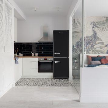 iio Retro Mod Series ALBR1372-11 Black fridge in kitchen space