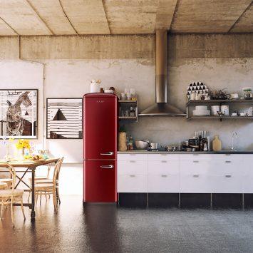 iio RR1 CRBR2412 Retro Lifestyle Photo of Kitchen with Wine Red Retro Fridge